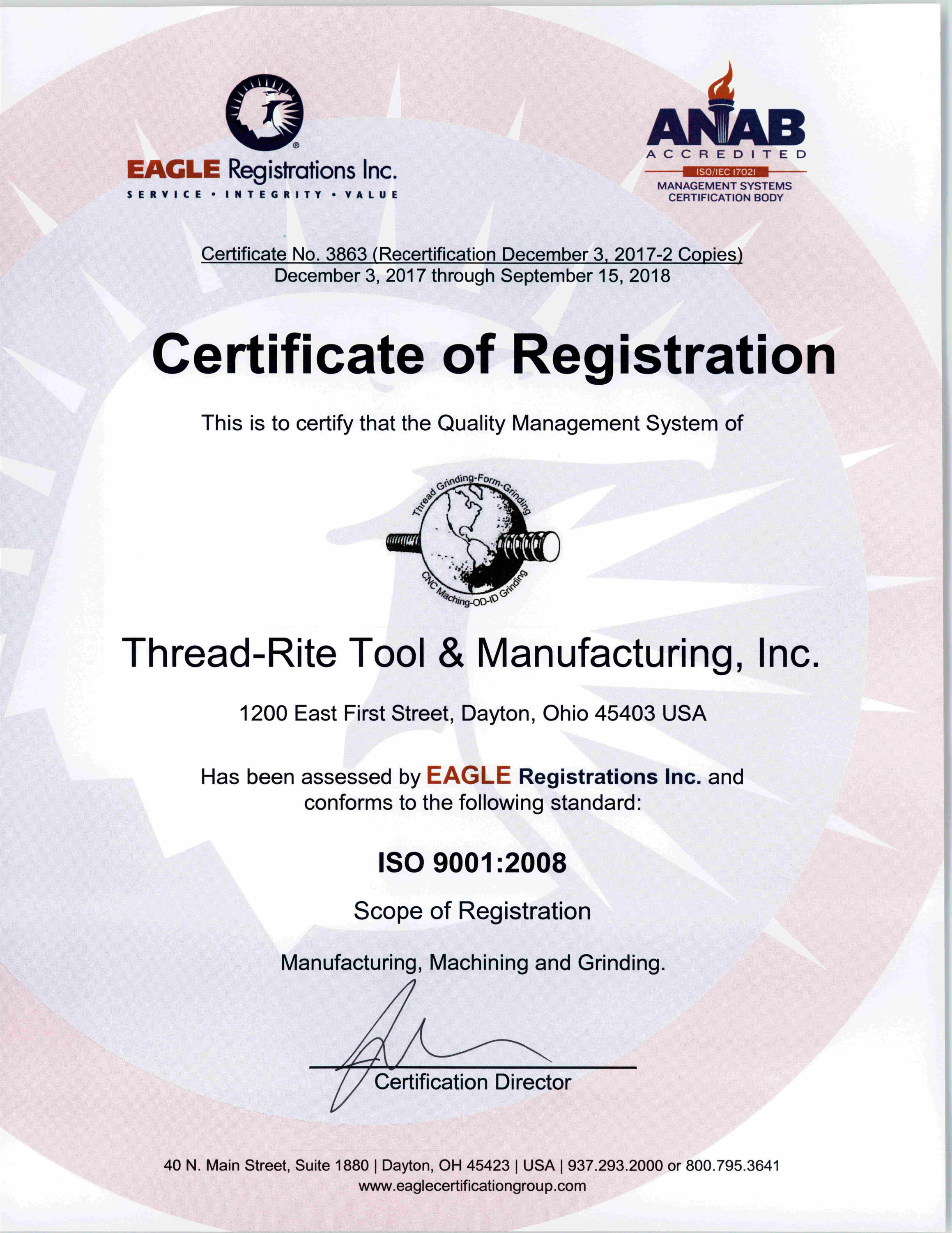 Certifications thread rite tool mfg inc click here to view print our iso 90012008 certificate xflitez Image collections